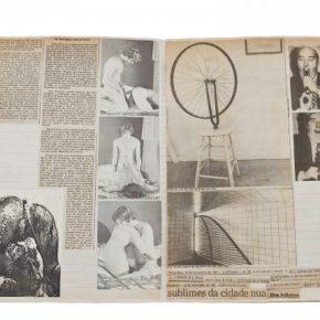 Hudinilson Jr., Caderno de Referências, collage sobre papel, 5 x 22 x 33 cm.Cortesía: Galería Jaqueline Martins
