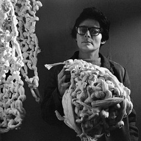 Mira Schendel in London in 1966. Photograph: Clay Perry/England & Co Gallery
