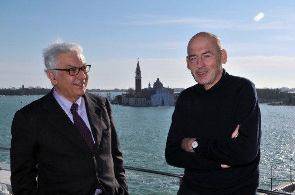Paolo Baratta, Presidente de la Bienal de Venecia, y Rem Koolhaas, curador de la 14va Muestra Internacional de Arquitectura. Foto: Giorgio Zucchiatti. Cortesía: Bienal de Venecia