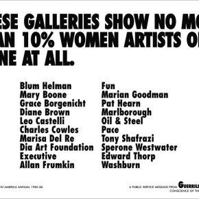 Guerrilla Girls, Menos de 10% ou nenhum dos artistas destas galerias são mulheres, 1985 Pôster, 43 x 56 cm Crédito: Guerrilla Girls