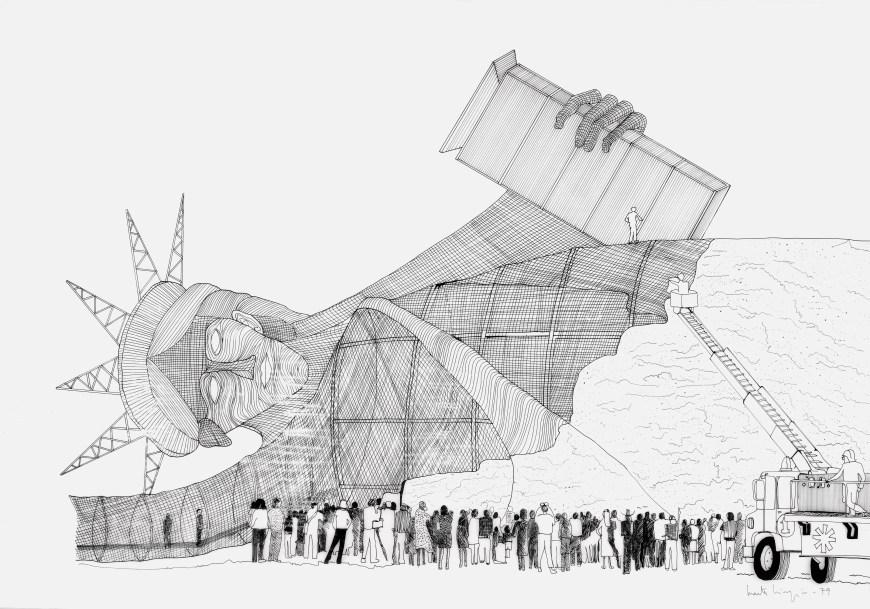 Marta Minujín, Estatua de la Libertad recubierta de hamburguesas, 1979, dibujo/boceto para proyecto no realizado, 80 x 110,5 cm. Colección Solomon R. Guggenheim Museum, Nueva York (a través del Guggenheim UBS MAP Purchase Fund, 2014).