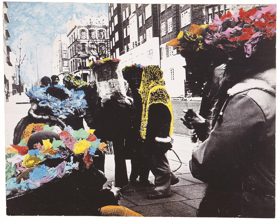 Diego Barboza, Expresiones de una calle de Londres (en la vía), 1970, emulsión de plata en gelatina, creyón y acrílico sobre papel. (Pieza única) 85,1 x 100, x cms. Colección Mercantil, Caracas