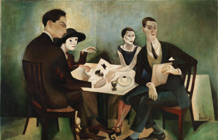 José De Almada Negreiros, Autorretrato en un grupo, 1925, óleo sobre tela, 130 x 197 cm. Museu Calouste Gulbenkian
