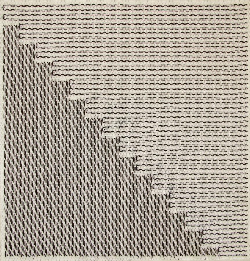 Bernardita Bertelsen, Bordado Plástico #1, 2016. Malla plástica, hilo encerado 50 x 48 cm. Cortesía de la artista