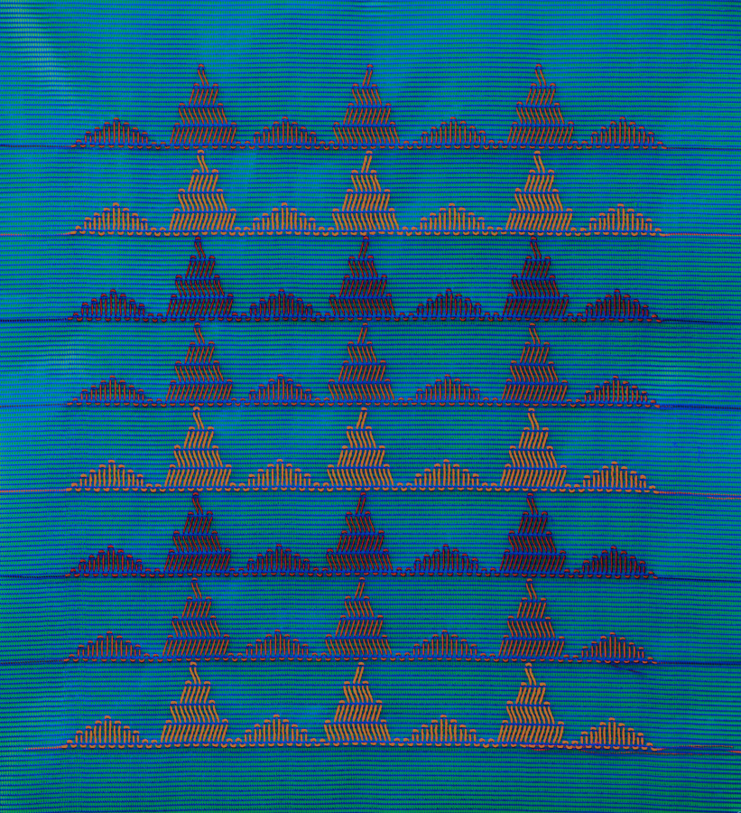 Bernardita Bertelsen, Bordado Plástico #5, 2016. Malla plástica, hilo encerado 50 x 45 cm. Cortesía de la artista