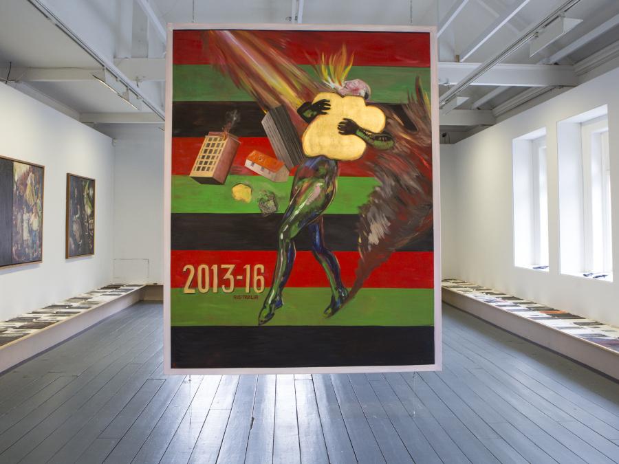 Juan Dávila, Entitling, 2015, óleo sobre tela, 255 x 200 cm. Cortesía del artista y Kalli Rolfe Contemporary Art. Vista de la instalación en EVA International 2018. Foto: Deirdre Power