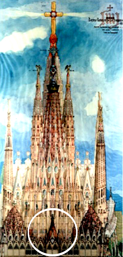Elevación de la Sagrada Familia, con círculo que señala la capilla de la Asunción. Archivo de Christian Matzner
