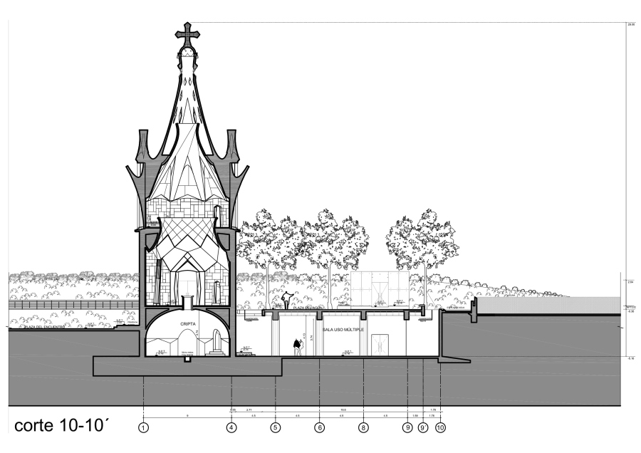 """Plano del """"Centro Cultural y Espiritual Gaudí"""". Archivo de Christian Matzner"""