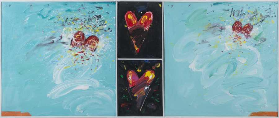 """Francisco Smythe, """"Nel mare divisi fra due cuori"""", 1986, Firenze, Italia. Acrílico sobre tela, 71 x 142 cms"""