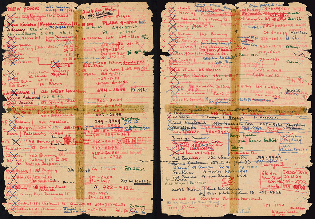 Anverso y reverso de la lista de direcciones de Harald Szeemann para su visita a Nueva York, 1968. The Getty Research Institute, 2011