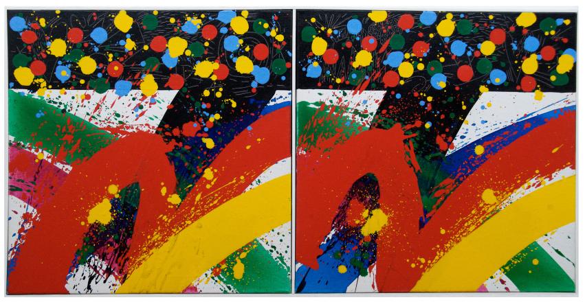 "Francisco Smythe,""Strisce"", 1984, Firenze, Italia. Acrílico sobre tela, 76 x 126 cms, díptico"