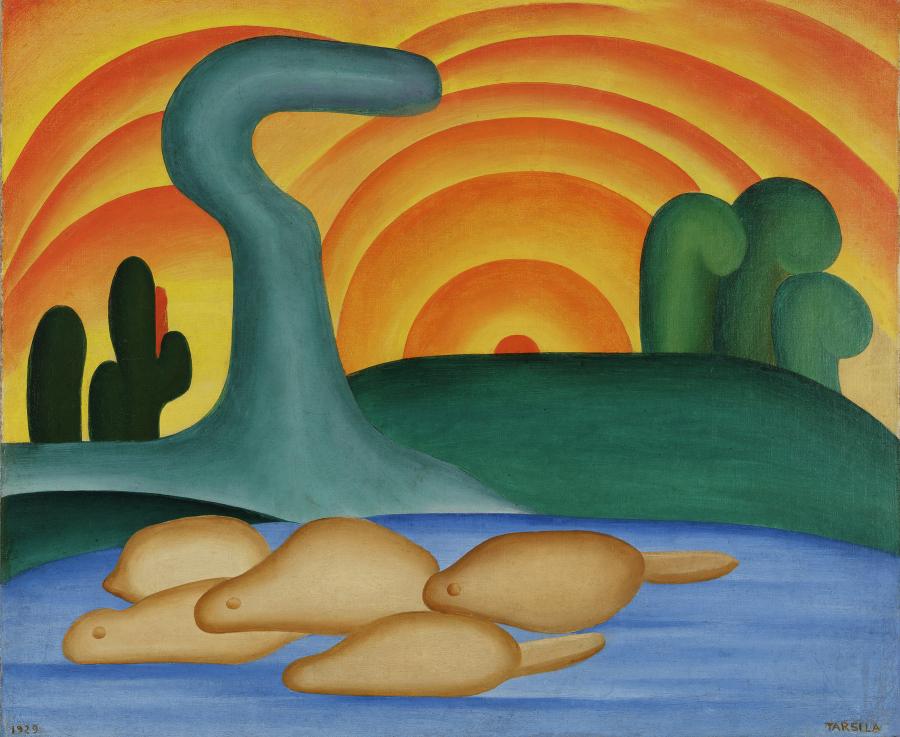 Tarsila do Amaral, Sol poente, 1929, óleo sobre tela, 54 x 65 cm. Colección privada, Río de Janeiro. © Tarsila do Amaral Licenciamentos
