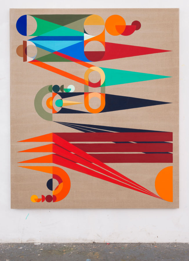 Eamon Ore-Giron, Top Ranking, 2015, flashe en lino, 167.64 x 142.24 cm. Cortesía del artista