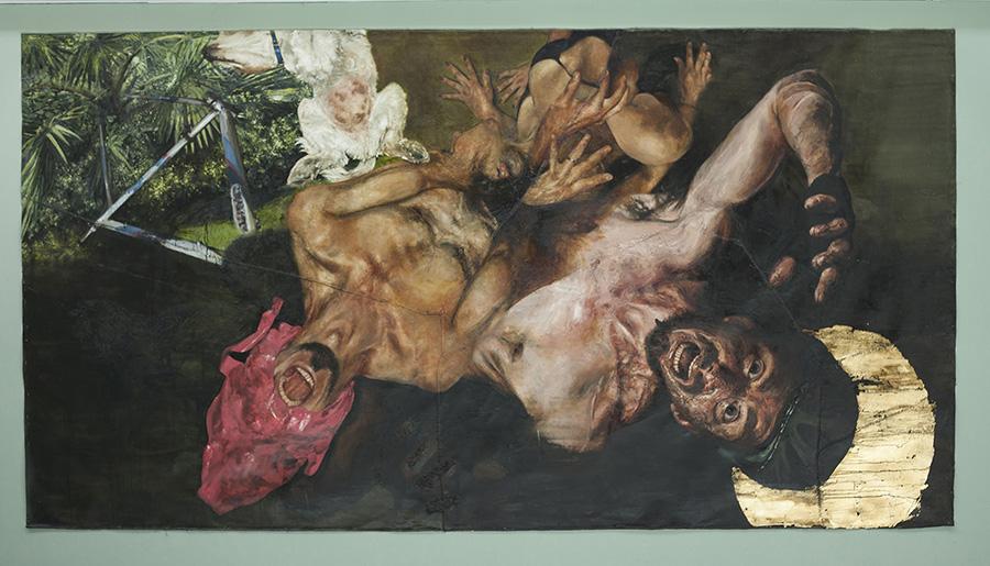 Pintura de Héctor León, parte de la XXX Muestra Anual del Museo de Arte Moderno de Chiloé en Castro, Chile. Foto: cortesía MAM Chiloé.