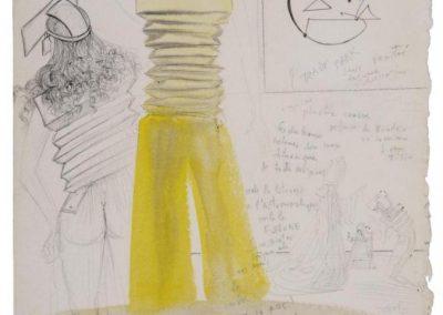 Salvador Dalí, Yellow Astronaut-clerical, 1965, Proyecto para vestido de noche de verano, acuarela, lápiz y bolígrafo sobre papel, 46 x 34 cm. En Mayoral