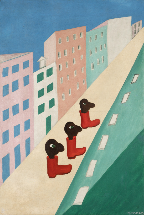 Tarsila do Amaral, A Rua (La calle), 1929, óleo sobre tela, 81 × 54 cm. Collection of Bolsa de Arte. © Tarsila do Amaral Licenciamentos