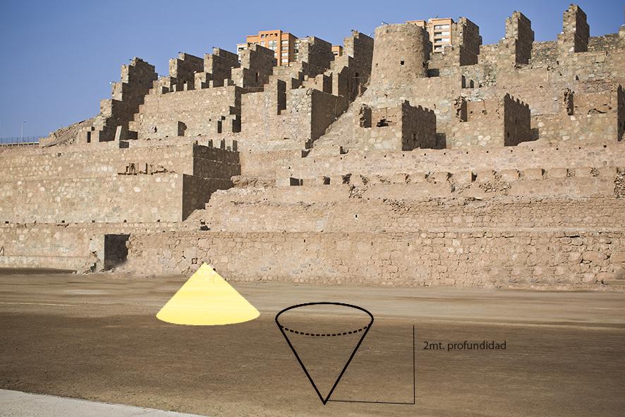 Boceto para intervención en ruinas Huanchaca, desierto del Norte de Chile. Cortesía de la artista