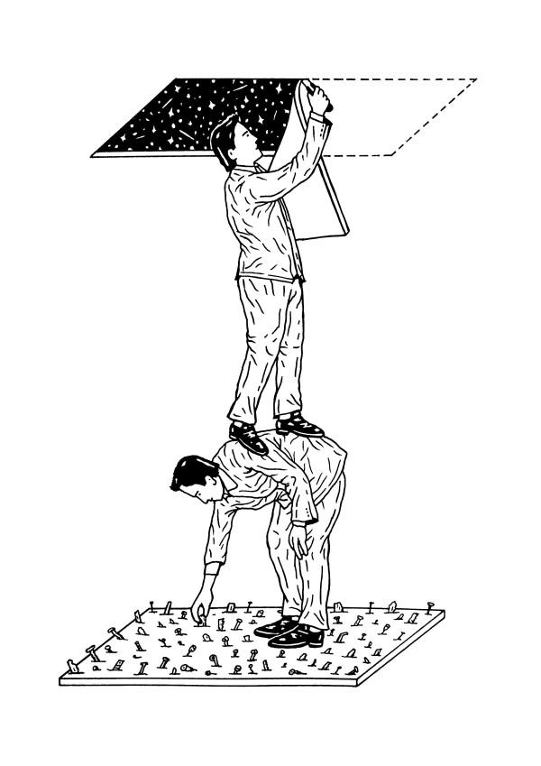 Dibujo de Francesco Tagliavia respecto a la obra de Carlos Rivera. Cortesía del artista