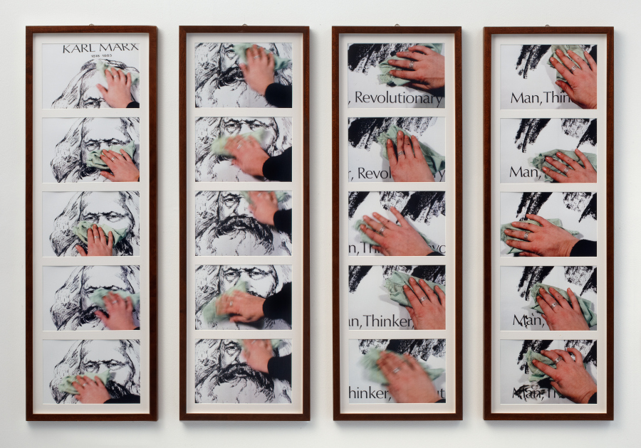 Alexis Hunter, The Marxist wife still does the housework, 1978-2005, 20 copias en láser sobre papel libre de ácido en cuatro paneles enmarcados, 109.5 × 160 cm c/u. Copyright: acervo de la artista. Cortesía: Richard Saltoun Gallery