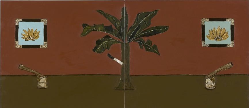 Dalton Paula, Enfia a faca na bananeira, 2017, óleo y lámina de plata sobre lienzo, 130 x 149 cm, díptico. Cortesía del artista y Sé Galería, São Paulo