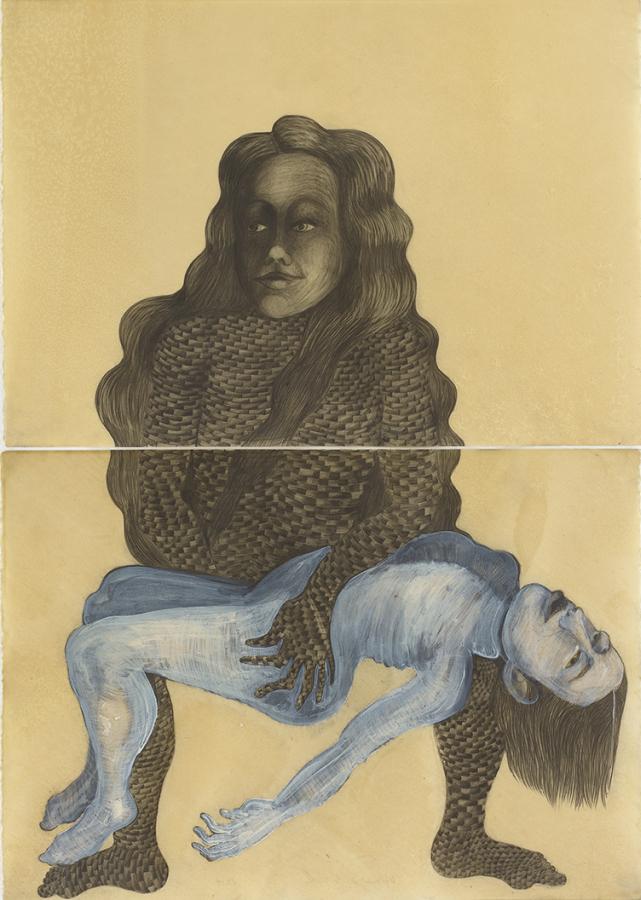 Sandra Vásquez de la Horra, La Pietá, 2017, grafito sobre papel, cera, 100 x 70 cm. Cortesía: Galería Senda, Barcelona