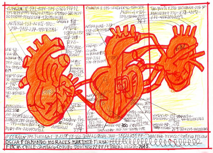 Corazón (2015), obra de Oscar Morales, parte de la muestra Radio Estación Locura en el Museo de Artes Visuales, Santiago de Chile. Foto: cortesía MAVI.
