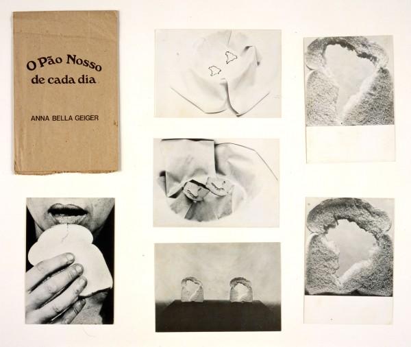 Annabella Geiger, O pao nosso de cada dia, 1978, bolsa de papel conteniendo seis postales. Donación de Shifra M. Goldman, 1999, para la Colección de Arte Latinoamericano del Blanton Museum