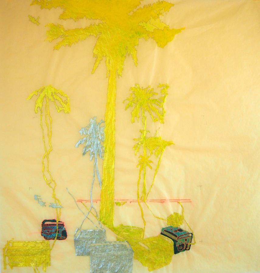 Wura-Natasha Ogunji, Generadores, 2014, hilo y tinta sobre papel vegetal. Foto cortesía de la artista.