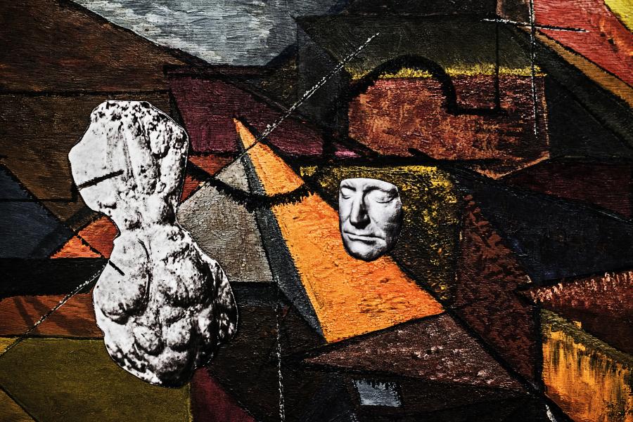 Sofia Borges, Pintura, Cérebro e Rosto, 2017, pigmento mineral sobre papel de algodón, 150 x 230 cm. Cortesía de la artista