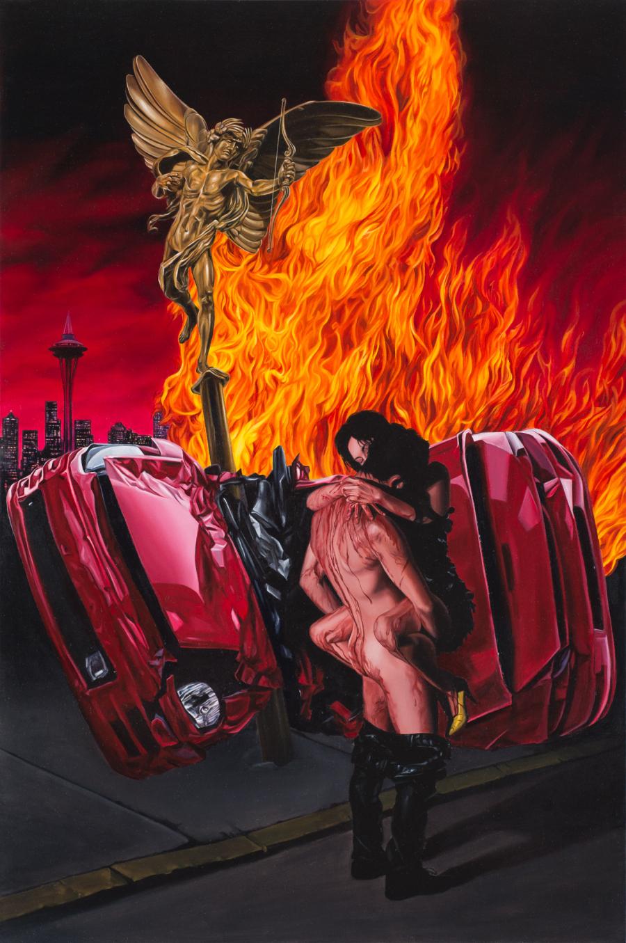 José Pedro Godoy, Fiebre, 2016, óleo sobre tela, 119 x 79 cm. Cortesía del artista y La Fresh Gallery