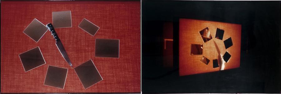 Iole de Freitas, Pedaços de vidro, fatias de vida, 1973/81, impresión, 50 x 153 x 2 cm. © Iole de Freitas / Galeria Raquel Arnaud
