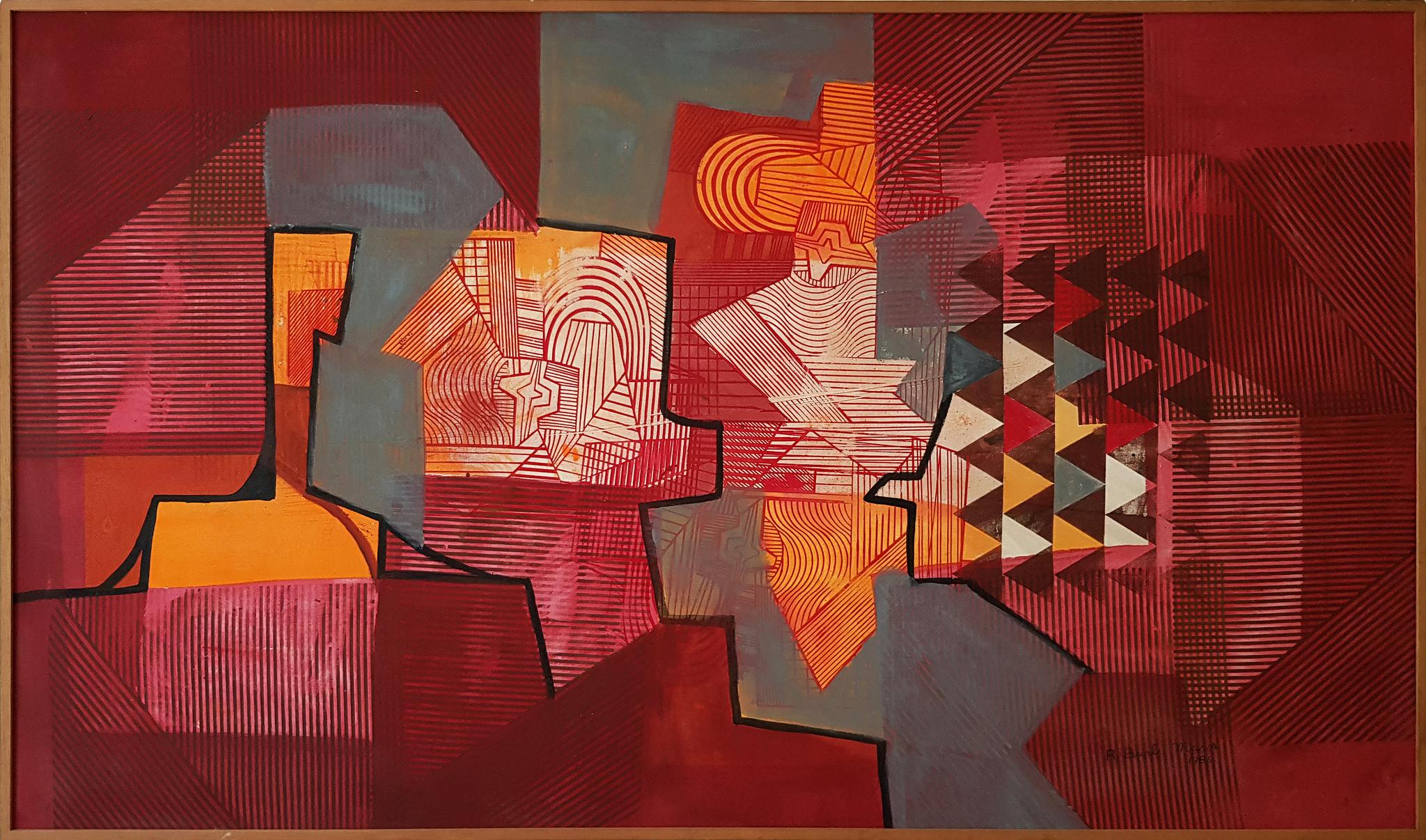 Roberto Burle Marx, Sin título,1986, tinta gráfica sobre lona, 110 x 186 cm © Hilda Araujo Escritório de Arte
