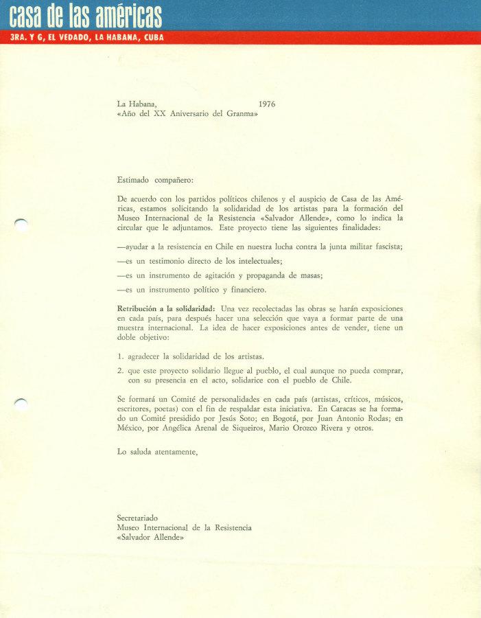 Convocatoria para particiar en MIRSA, 1976. La Habana, Cuba. Archivo MSSA.