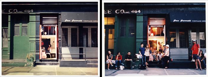 """Vista de la calle de """"Welcome to my dollhouse"""", un proyecto site specific donde Cecilia Jurado Chueca vivió y durmió con las puertas abiertas durante una semana en un mini cuarto convertido en dúplex con ayuda del arquitecto Sandro Darsin, Nueva York, 2006"""