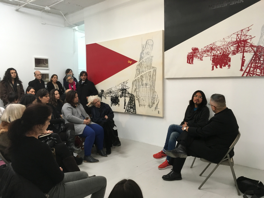 """Conversación entre Miguel A. López y Fernando Bryce durante la apertura de la muestra """"Be My Memory"""", curada por Miguel A. López para Y Gallery, NY"""