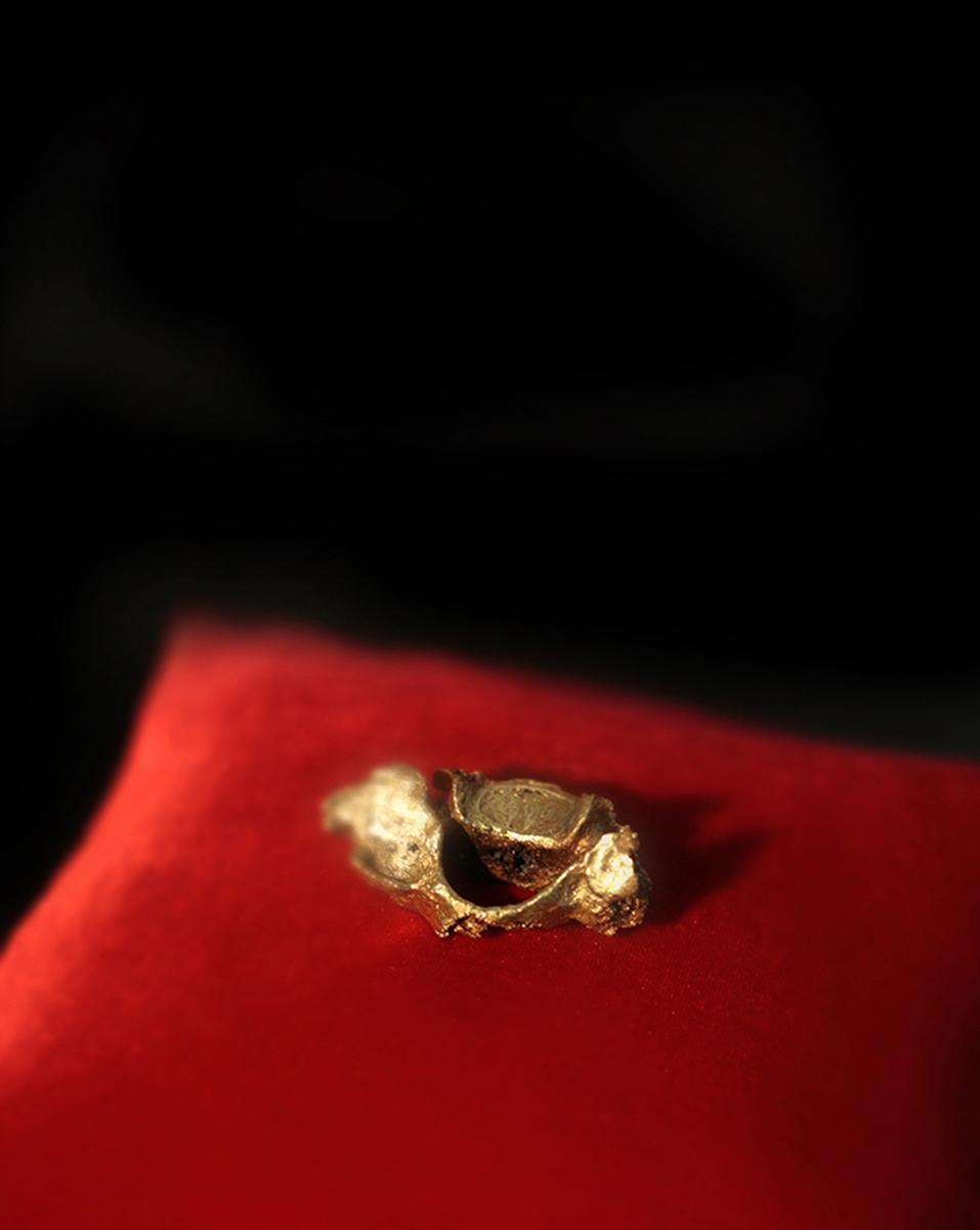 "Melissa Guevara, Inflection point (de la serie ""Reliquias""), 2014, vértebra cervical dorada, cojín, 18 x 18 x 10 cm. Foto: The Fire Theory © Cortesía de la artista"