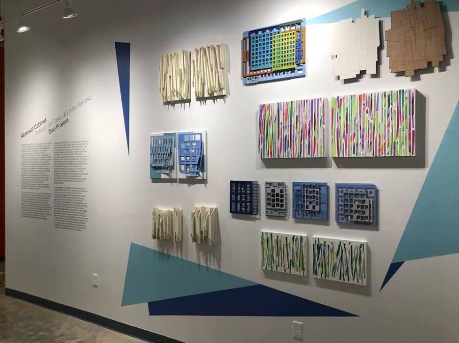 """Vista de la exposición """"Abstract Cabinet. Patricia Van Dalen & Emilio Narciso. Duo Project"""", en Imago Art in Action, Miami, 2018."""
