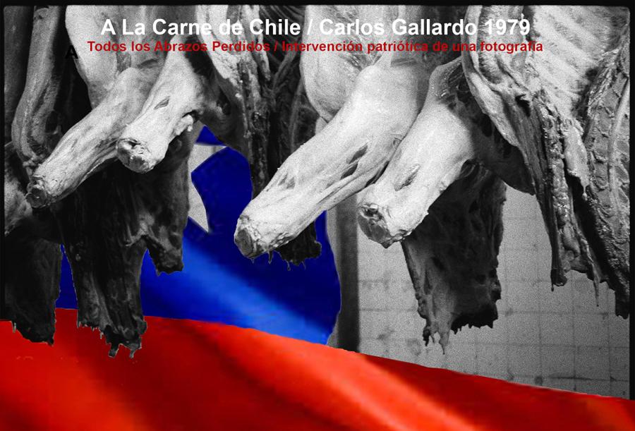 Carlos Gallardo, Todos los abrazos perdidos, 1979, intervención patriótica de una fotografía. Cortesía: D21