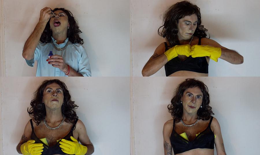 Capturas de pantalla del video Martuca is Alive (2018) de Juvenal Barría, parte de su muestra INFILTRADAX en Galería Isabel Croxatto, Santiago de Chile. Foto: cortesía de la galería.