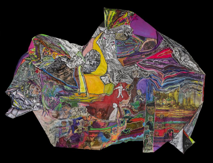 Luis Felipe Noé, Testigos y testimonios, 2018, pintura, 245 x 190 cm. Cortesía: Rubbers Internacional, Buenos Aires