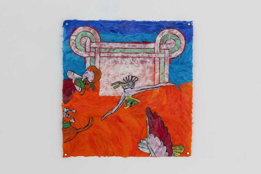 Paula Dittborn, Ropa de cama I, políptico de plumas sobre papel diamante, 38 x 35 cm. c/u, 2018. Fotografía: Sebastián Mejía.
