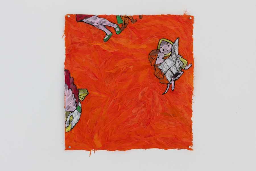Paula Dittborn, Ropa de cama II, políptico de plumas sobre papel diamante, 38 x 35 cm. c/u, 2018. Fotografía: Sebastián Mejía.