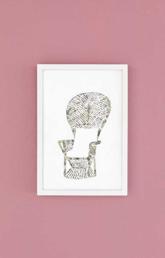 Paula Dittborn, Peacock Chair, celuloide nacarado sobre acrílico y pintura acrílica, 28 x 19 cm, 2018. Fotografía: Sebastián Mejía.