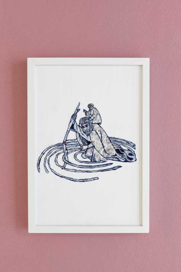 Paula Dittborn, San Cristóbal, celuloide nacarado sobre acrílico y pintura acrílica, 28 x 19 cm, 2018. Fotografía: Sebastián Mejía