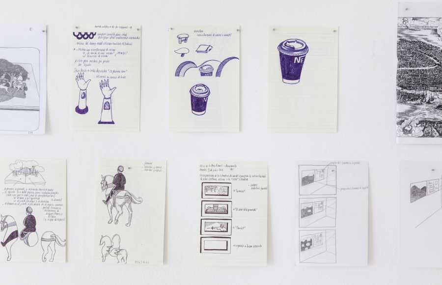 Paula Dittborn, Apuntes, políptico de dibujo con lápiz grafito y pasta sobre papel de cuaderno, medidas variables, 2011-2017. Fotografía: Sebastián Mejía.