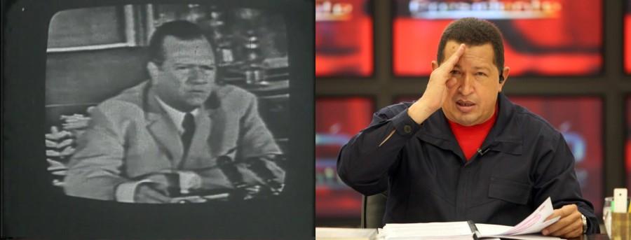 Presidentes de Venezuela Rafael Caldera y Hugo Chávez en sus programas televisivos. Cortesía: Iván Candeo