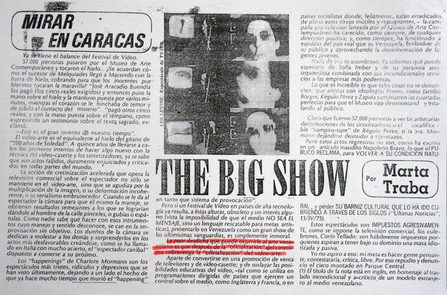 """Marta Traba, """"The Big Show"""", sección Mirar en Caracas, diario El Nacional, Caracas, 1975. Cortesía: Iván Candeo"""