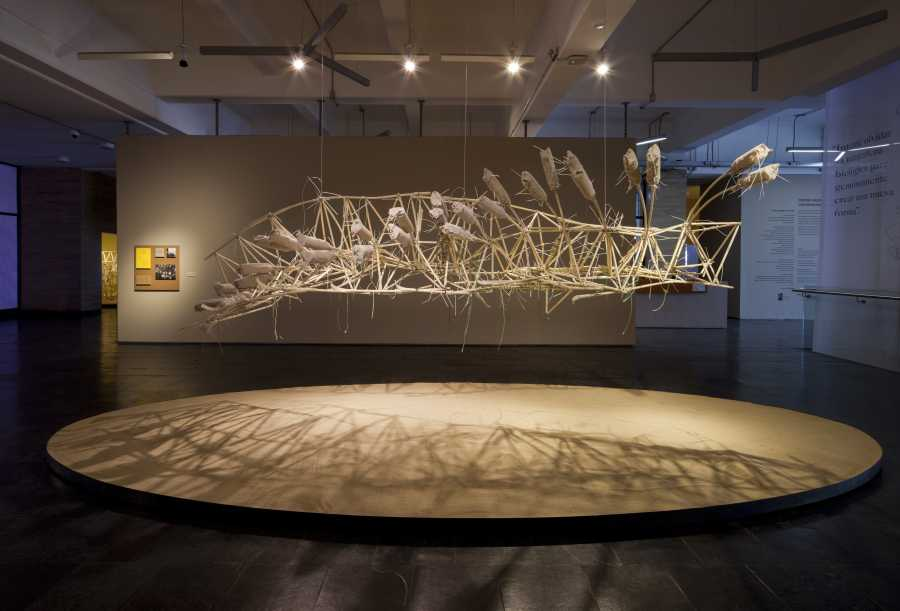 """Vista de la exposición """"Algoritmos del viento"""", de Theo Jansen, en el centro Nacional de Arte Contemporáneo Cerrillos, Santiago de Chile, 2018. Foto: Sebastián Mejía"""
