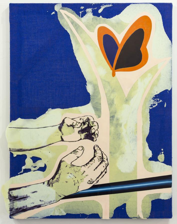 Rodrigo Lobos, Miembro fantasma y non-GMO Project, 2018, arpillera y silicona de platino, 92 x 122 cms. Cortesía del artista y Die Ecke Arte Contemporáneo, Santiago