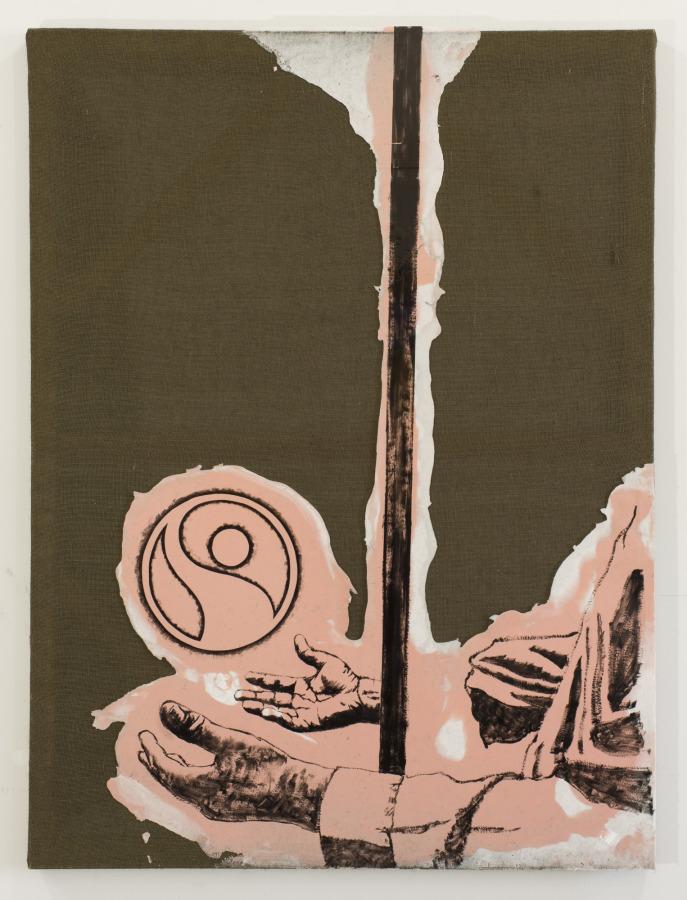 Rodrigo Lobos, Miembro fantasma y Fair Trade Project, 2017, arpillera y silicona de platino, 92 x 122 cms. Cortesía del artista y Die Ecke Arte Contemporáneo, Santiago